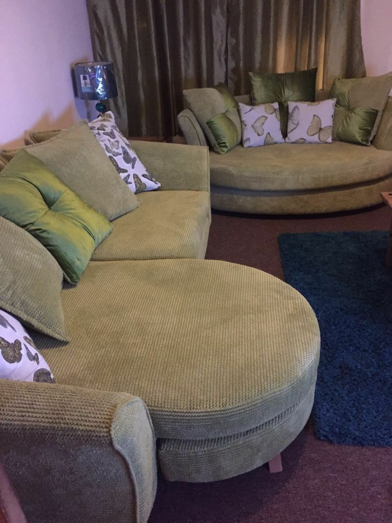 Dfs Corinne Lime Green Fabric Set Inc 4 Seater Pillow Back