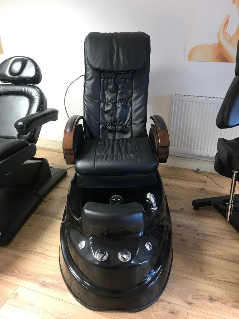 Black Pedicure spa chair with massage