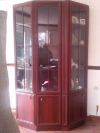 Wood cabinet excellent condition with lights and glass panel doors £50