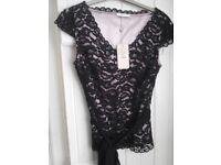 Ladies occasion Jacques Vert black lace top BNWL Size 8 £20
