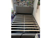 Fabric double storage bed frame only