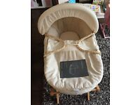 Mamas and Papas Linen Moses basket with Delux Stand