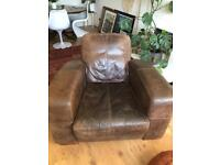 Large Art Deco Style Leather Armchair