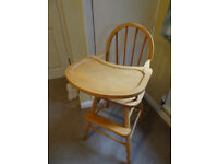 Wooden Mothercare High Chair, recently renovated.