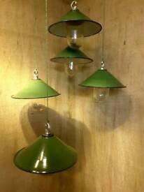 Hanging enamel vintage lights x 5
