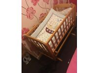 Rocking crib and matching changing unit