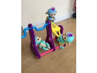 Fingerling set, immaculate condition. Seesaw play set and 3 x monkeys