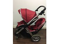 Babystyle Oyster Max Tomato Red Pushchairs Double Seat Pram - excellent condition