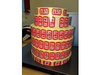 ROLLS & ROLLS OF PRICED LABELS (as per photo) £3.50 per roll - no longer required