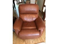 Electric Reclining Leather Sofa & Two Chairs