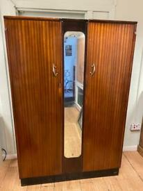 Vintage double door mirrored wardrobe