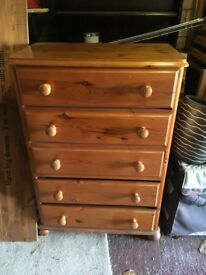 Chest of Draws, solid pine.