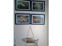 4 Fish pictures and Gone fishing sign