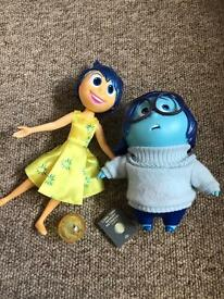 Disney Pixar inside out film characters sadness and joy talking figures