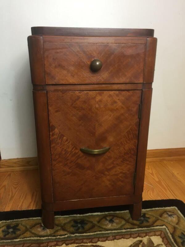 Vintage Huntley Simmons Furniture Single Tiger Maple Nightstand Bedside Table