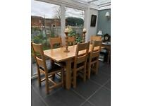 Oak table and six chairs