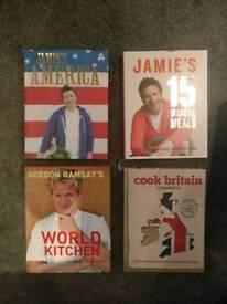 4 x Cookery Books, Jamie Oliver, Gordon Ramsey