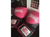 2 pairs of girls/ ladies boxing gloves and sparring pads