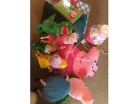 Peppa pig bundle, soft toys, cushion, blankets and lamp