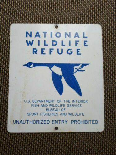"VTG US FISH WILDLIFE DEPT NATIONAL WATERFOWL WILDLIFE REFUGE HUNTING SIGN 13x15"""