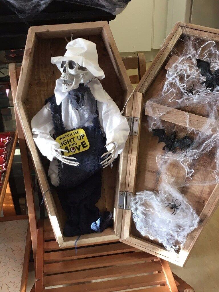 Halloween skeleton in a casket from smoke free home