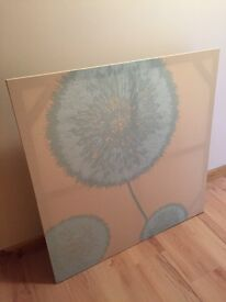 Duck egg blue and cream canvas