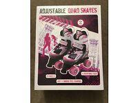Girls adjustable quad skates (size 1-3)