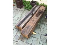 2 x Antique oak beams 5 ft x 9.5 inches x 9.5 inches and 4.5 ft x 9.5 inches x 9.5 inches