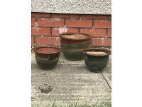 3 garden ceramic pots