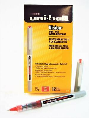 Uni-ball Vision Red Ink Fine Point Roller Ball Pen One Dozen 12-pens New 60139