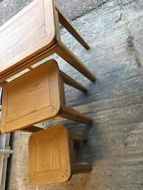 Solid oak chest of tables