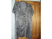 Size 24 Black and grey shiny material Shirt dress cap sleeves with belt