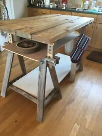 urban chic or Country Kitchen Island, Work surface, Butcher's block made from scaffolding planks.