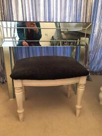 Glass mirror dressing table with stool
