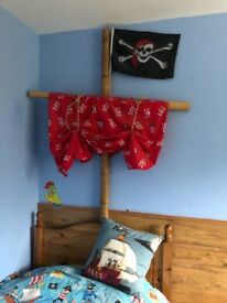 Pirate Bedroom Accessories Ships Wheel, mast, sail, wooden toy chest and light shade