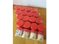 250 ml Red Lid Clear Plastic Canister x20