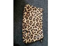 Large leopard print make up bag