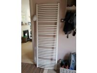 White tall towel radiator for central heating