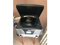 Record player with built in cd player and radio.