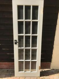 Solid Wood 15 pane door with latch, hinges plus Star Bold lock & Key