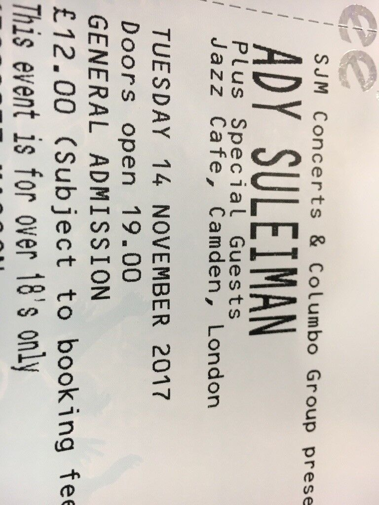 Ady Suleiman Tickets - Jazz Cafe - 14/11/2017 - Sold Out and Selling at Face Value!!