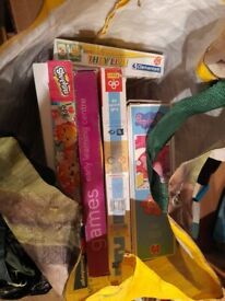 bag of children's games and jigsaw puzzles