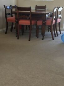 19th century light mahogany dining table and 6 chairs