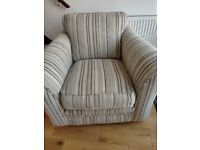 SUPER COMFY ARMCHAIR, NEUTRAL CREAM AND LATTE STRIPED FABRIC