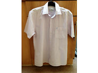 **ONLY BEEN WORN ONCE** Mens size Medium white,pink and blue pinstripe short sleeve YSL shirt