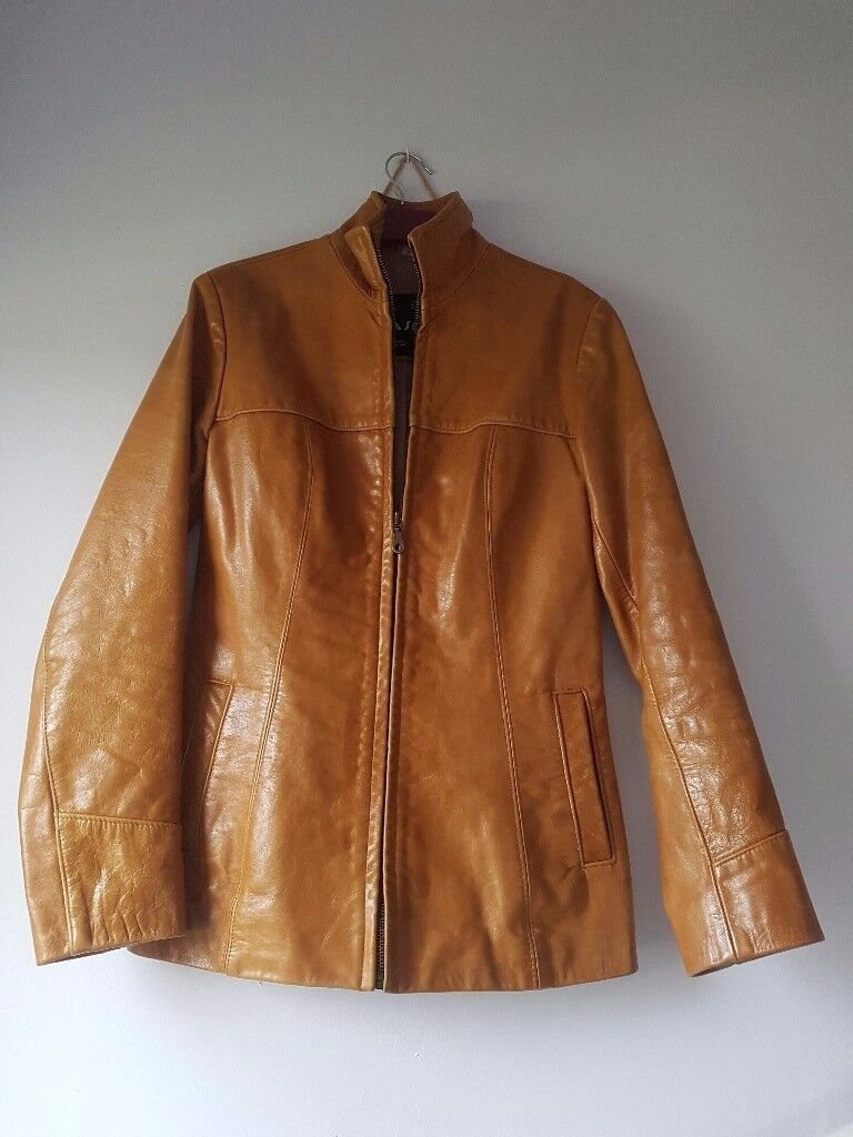 Tan colour Real leather jacket size 8