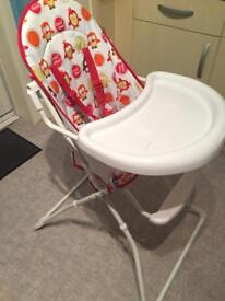 Redkite 'feed me' highchair - owl design - excellent condition