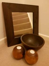 Wooden mirror, bowl & tea light holders