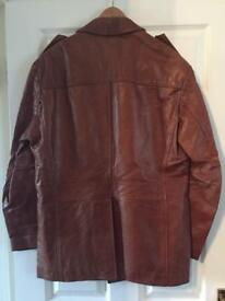 Men's brown leather coat, made by Ashy