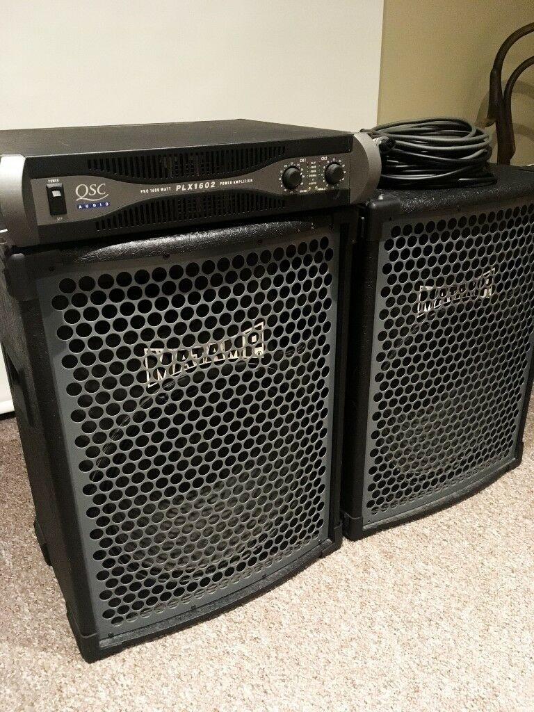 Matamp Pa Speakers 15 Drivers With Horns Qsc Power Amp In Amplifiers